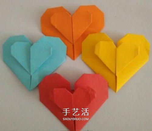 心心相印的折法步骤图 手工折纸心心相印图解图片