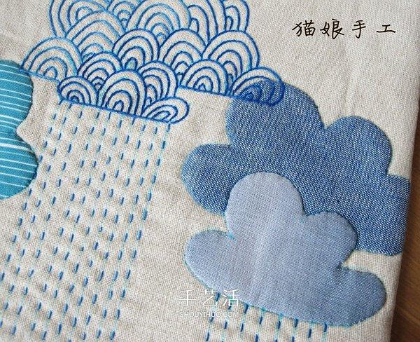 不织布手工制作祥云桌垫,成品大小:19.5cm X 19.5cm。材料准备:麻布、棉布、辅棉、绣线。工具准备:针、熨斗、直尺、剪刀、珠针、纸板、水洗笔。 1,剪裁两块大小一样的布(20 X 20cm)。