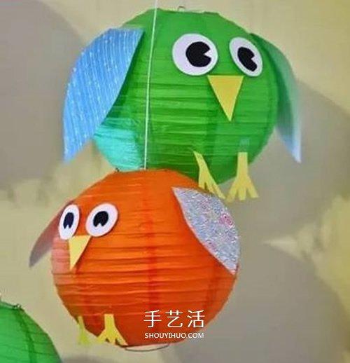 可爱的小动物灯笼手工制作教程,先糊出一个常见的灯笼,然后我们再剪纸