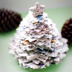 废报纸旧杂志制作圣诞树的方法 简单又漂亮