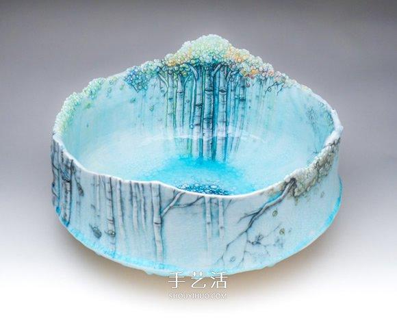 亲手捏制的一草一木 精美的浮雕式陶瓷器皿 -  www.shouyihuo.com