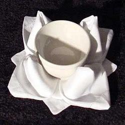 手工餐巾折玫瑰花图解 漂亮餐具玫瑰花的折法
