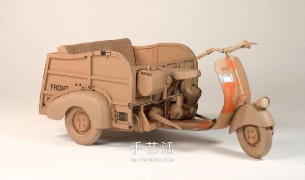废纸箱变废为宝diy 瓦楞纸做车辆模型图片