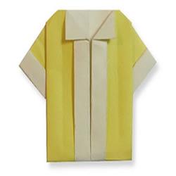 儿童短袖衬衫的折法 简单夏天衬衫折纸图解