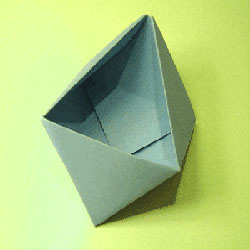 简易垃圾盒的折纸教程 多面体纸盒的折法图解