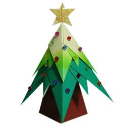 彩色立体圣诞树怎么折 美丽的圣诞树折纸