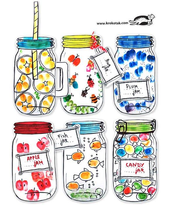 """亲子手指画的画法 做出有趣""""罐子里的秘密"""" -  www.shouyihuo.com"""