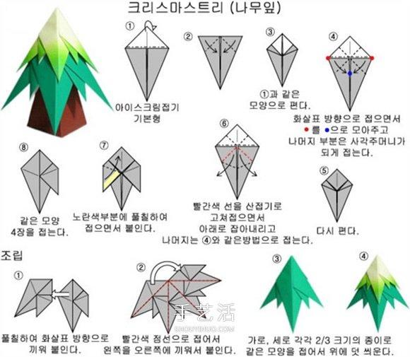 美丽的圣诞树折纸图解图片