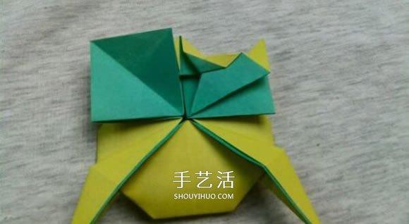 立体青蛙折纸步骤图 复杂折青蛙的方法和图片(2)