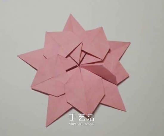 圣诞节折纸圣诞花图解 平面圣诞花的折法步骤
