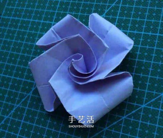 超简单玫瑰花怎么折 不难玫瑰花的折纸图解 -  www.shouyihuo.com