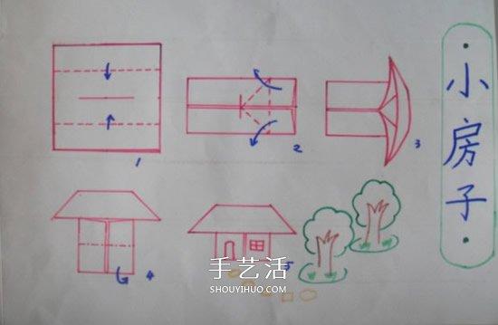 最后放上小房子折纸的步骤图,供大家参考.