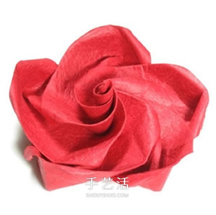 五瓣玫瑰花的折法图解 手工折纸五瓣玫瑰步骤