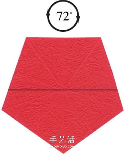 五瓣玫瑰花的折法图解 手工折纸五瓣玫瑰步骤 -  www.shouyihuo.com