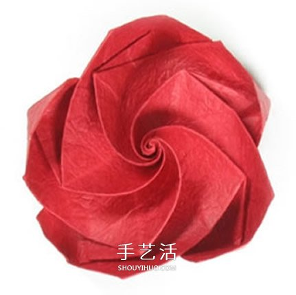 五瓣玫瑰花的折法图解 手工折纸五瓣玫瑰步骤(2)