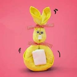 毛巾折叠兔子的方法 简单毛巾兔子制作动图