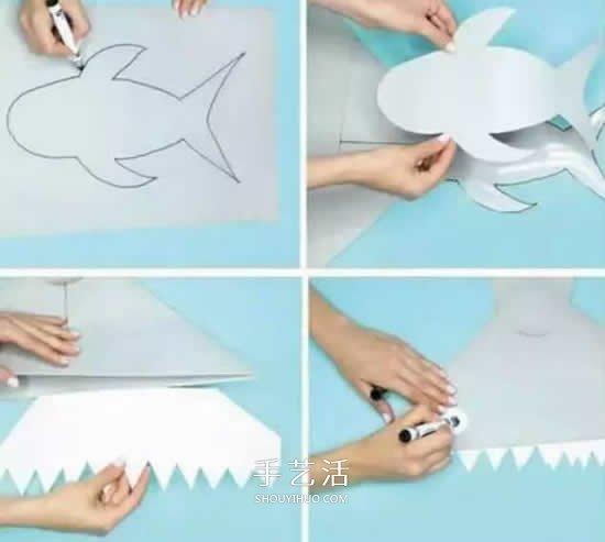 简单鲨鱼帽的做法图解 卡纸制作儿童玩具帽 -  www.shouyihuo.com