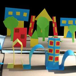 幼儿剪纸城市的做法 简单卡纸城市手工制作