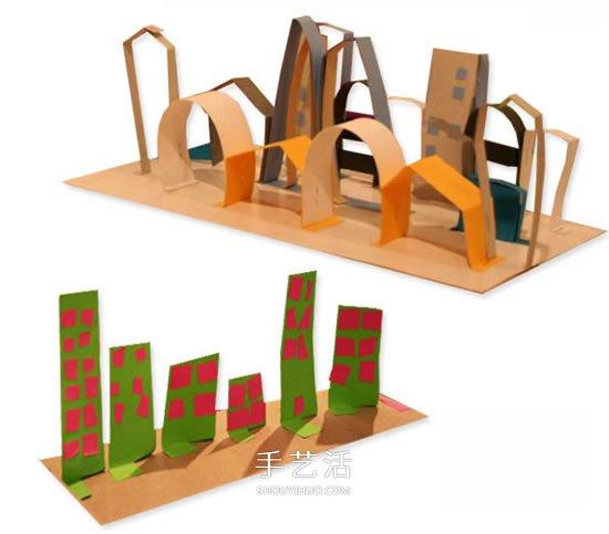 幼兒剪紙城市的做法 簡單卡紙城市手工製作