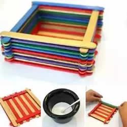 雪糕棍收纳盒的制作 废物利用做方形收纳盒