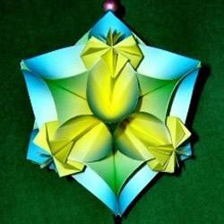 手工折纸四瓣花花球 简单纸花球的做法图解