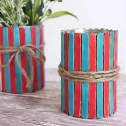 自制雪糕棍花瓶的方法 铁罐子DIY简约花瓶教程