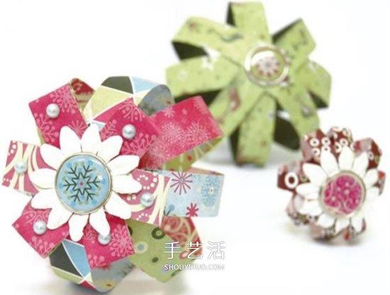 卡纸手工制作圣诞节装饰球体和花球的方法 -  www.shouyihuo.com
