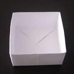 简易垃圾盒的折法图解 手工折纸方形垃圾盒