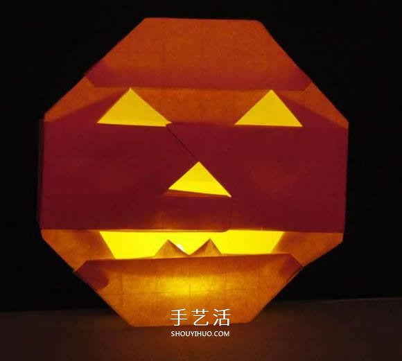 立体南瓜灯的折纸图解 手工复杂南瓜灯的折法