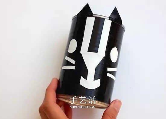 奶粉罐做小黑猫笔筒 卡通笔筒用奶粉罐制作 -  www.shouyihuo.com