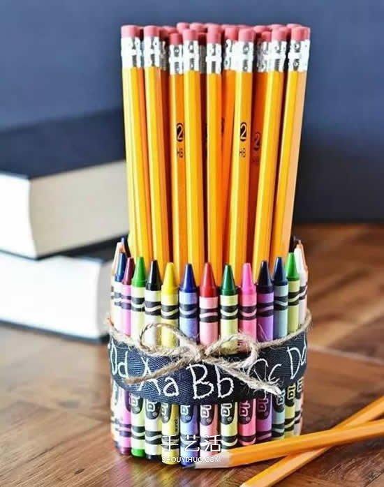 幼儿手工笔筒的做法 蜡笔笔管废物利用DIY笔筒 -  www.shouyihuo.com