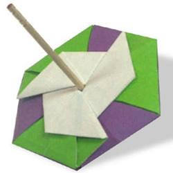 纸陀螺怎么折的图解 简单折纸陀螺玩具教程