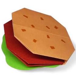 幼儿手工折纸汉堡教程 最简单汉堡包的折法