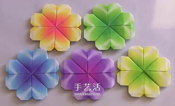 最简单四叶草的折法 幼儿折纸四叶草的教程图片