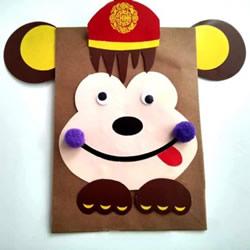 简单小猴子纸袋的做法 幼儿制作卡通牛皮纸袋