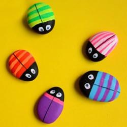 鹅卵石瓢虫的画法图片 幼儿手绘做瓢虫的教程