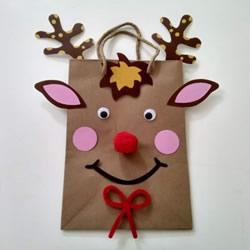 圣诞麋鹿纸袋的做法 手工圣诞节卡通纸袋DIY