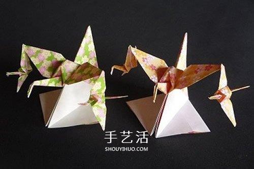 连体千纸鹤的折法图解 一张纸折出三只纸鹤
