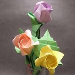 玫瑰花叶子的折法图解 以及花朵和叶子的组合