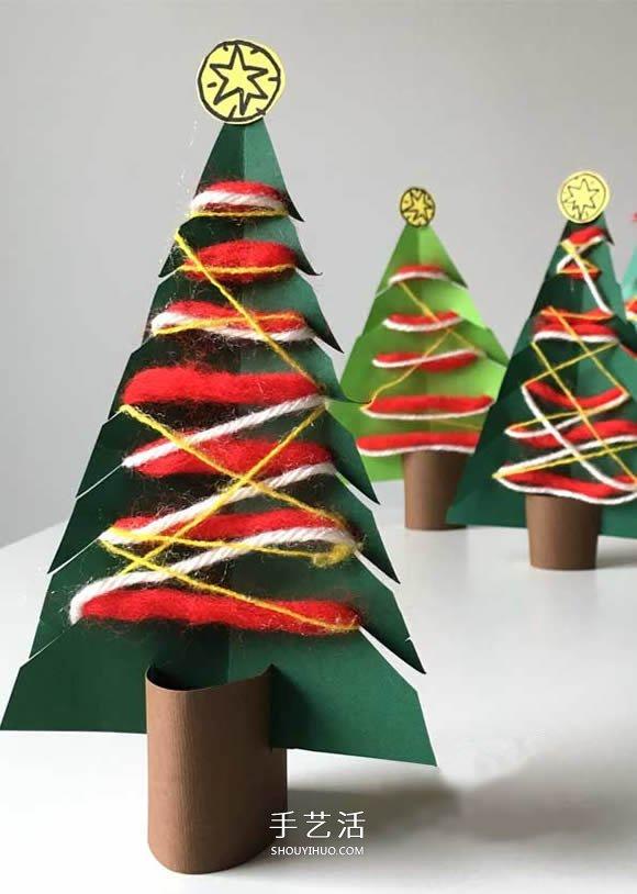 卡纸做圣诞树的简单方法 幼儿手工制作圣诞树图片