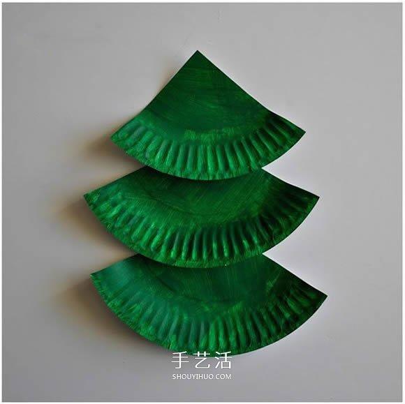 圣诞节餐盘圣诞树做法 幼儿手工圣诞树小制作 -  www.shouyihuo.com
