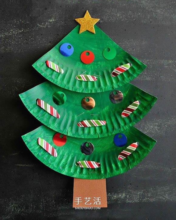 圣诞节餐盘圣诞树做法 幼儿手工圣诞树小制作图片