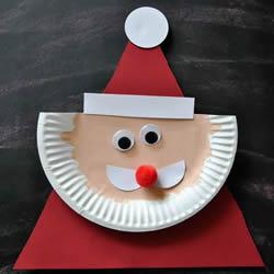 圣诞老人手工制作图片 纸餐盘做卡通圣诞老人