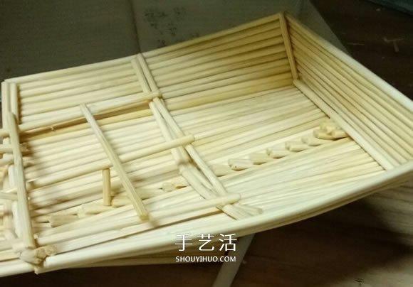 古代战船模型手工制作 纯以一次性筷子完成 -  www.shouyihuo.com