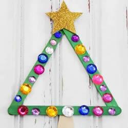 废物利用做圣诞树教程 圣诞树装饰用雪糕棍做
