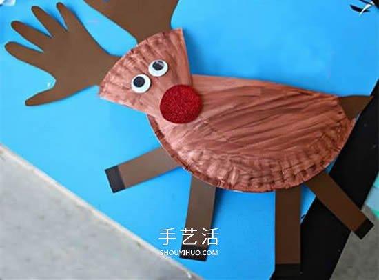 纸餐盘手工制作驯鹿 环保圣诞节麋鹿的做法 -  www.shouyihuo.com