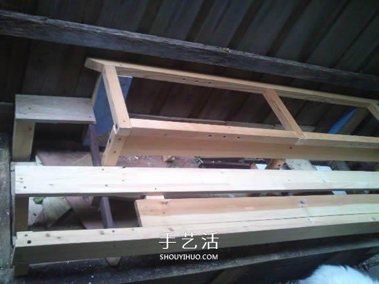 旧的原木床架改造使用 DIY制造花架的进程 -  www.shouyihuo.com