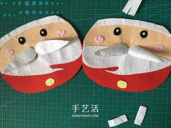 不织布制作圣诞老人包包 布艺卡通圣诞包做法 -  www.shouyihuo.com