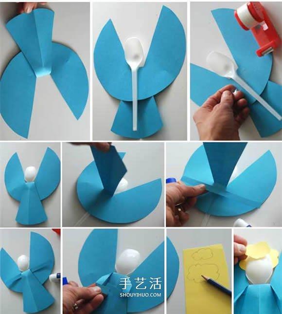 一次性勺子做小天使 圣诞节可爱天使手工制作 -  www.shouyihuo.com