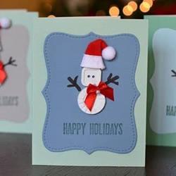精致圣诞贺卡的做法 纽扣雪人圣诞贺卡DIY